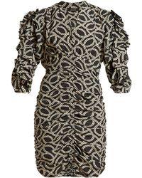 Isabel Marant - Andor Cog Print Stretch Silk Crepe Mini Dress - Lyst
