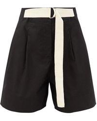 Lee Mathews Birder High-rise Belted Cotton Shorts - Black