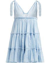 Innika Choo Tiered Ruffle Trimmed Ramie Mini Dress - Blue