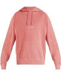 Saint Laurent - Sweat-shirt délavé à capuche et imprimé logo - Lyst