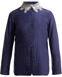 Thierry Colson Amauray Lace-collar Cotton-blend Pajama Top - Blue
