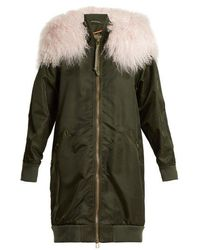 Mr & Mrs Italy - Mongolian-fur Trimmed Long-line Bomber Jacket - Lyst