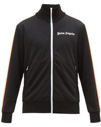 Palm Angels Logo Print Jersey Track Jacket - Black