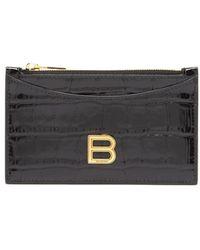 Balenciaga アワーグラス クロコダイルパターン レザーカードケース - ブラック