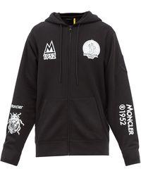 2 Moncler 1952 Logo-print Zipped Cotton-jersey Hooded Sweatshirt - Black