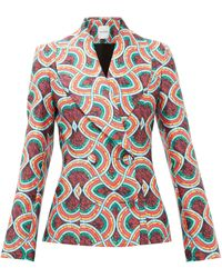 Halpern Double-breasted Marble-print Satin-faille Jacket - Red