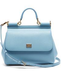 Dolce & Gabbana シシリーミディアム グレインレザーバッグ - ブルー