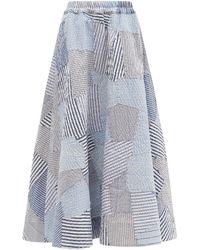 By Walid Jupe en coton patchwork de chemise vintage Daisy - Bleu