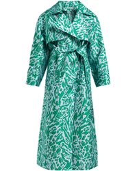 Vika Gazinskaya Animal Print Trench Coat - Green