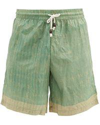 SMR Days Striped Drawstring Silk Shorts - Green