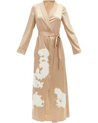 Myla Primrose Hill Floral-appliqué Silk-blend Robe - Natural