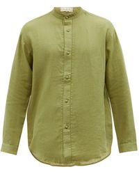SMR Days Tulum Stand-collar Linen Shirt - Green