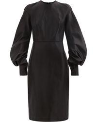 Tom Ford バルーンスリーブ シルクダッチェスドレス - ブラック