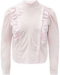 Mes Demoiselles Schiaparelli Ruffled Cotton-poplin Blouse - Pink
