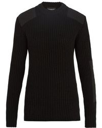 CALVIN KLEIN 205W39NYC - Patch-detail Ribbed-knit Cotton-blend Sweater - Lyst