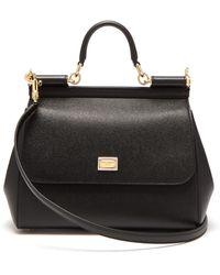 Dolce & Gabbana シシリー ミディアム グレインレザーバッグ - ブラック