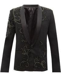 Balmain クリスタル ウールブレンド タキシードジャケット - ブラック