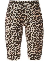Ganni Leopard-print Jersey Cycling Shorts - Multicolor