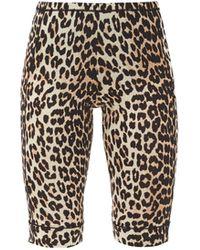 Ganni Leopard-print Jersey Cycling Shorts - Multicolour
