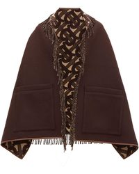 Burberry Helene Leather-trimmed Merino Wool-blend Scarf - Brown