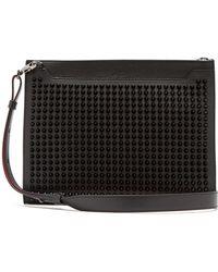Christian Louboutin - Spike-embellished Leather Pouch - Lyst