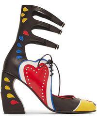 Marques'Almeida - Buckle Fastening Block Heel Appliqué Leather Pumps - Lyst