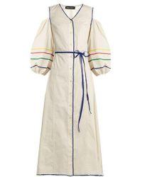 Anna October - Cold-shoulder Ric-rac Trim Cotton Dress - Lyst