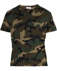 Valentino - Studded Camouflage-print Cotton T-shirt - Lyst
