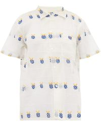 Bode - Apple-embroidered Sheer Cotton Bowling Shirt - Lyst