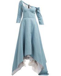 Natasha Zinko Asymmetric Gingham Off-shoulder Bustier Maxi Dress - Blue