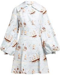 Emilia Wickstead Marina Ship-print Linen Mini Dress - Blue