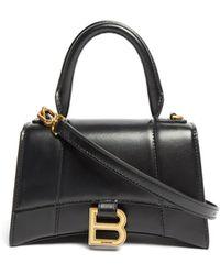 Balenciaga アワーグラス Xs レザーバッグ - ブラック