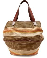 Weekend by Maxmara - Party Raffia And Leather Basket Bag - Lyst