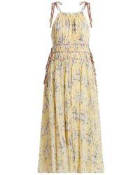 Rebecca Taylor - - Halterneck Floral Print Cotton Blend Dress - Womens - Yellow Print - Lyst