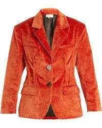 Isa Arfen - Notch Lapel Crushed Velvet Cotton Blend Jacket - Lyst