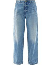 B Sides Cinch Back-belt Oversized Jeans - Blue