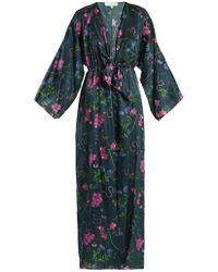 Borgo De Nor - Elsa Surreal Print V Neck Satin Kimono Dress - Lyst