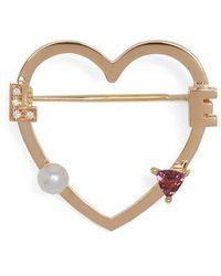 Delfina Delettrez - Diamond, Rhodolite, Pearl & Pink-gold Brooch - Lyst