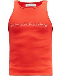 Ludovic de Saint Sernin Crystal-logo Cotton-blend Jersey Tank Top - Red