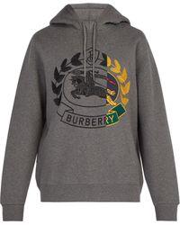 Burberry Sweat-shirt à capuche et broderie chevalier - Gris