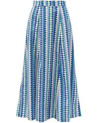 Le Sirenuse カミール コットンポプリンマキシスカート - ブルー