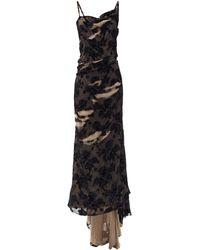 Balenciaga フローラルデヴォレ ダメージ ドレープドレス - ブラック