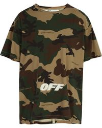 Off-White c/o Virgil Abloh - Logo Embroidered Camouflage Cotton T Shirt - Lyst