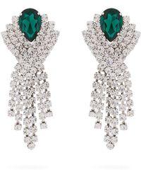 Alessandra Rich Crystal Chandelier Clip Earrings - Green