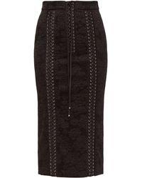 Dolce & Gabbana - レースアップ フローラルジャカード ペンシルスカート - Lyst