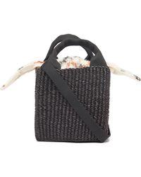 Muuñ Rita Woven-grass Box Bag - Brown