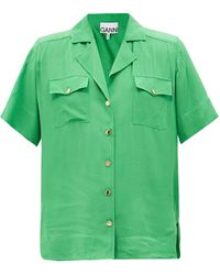 Ganni キューバンカラー リップストップシャツ - グリーン