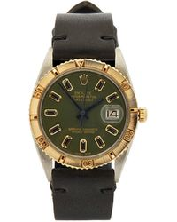 Lizzie Mandler Montre en or et onyx Vintage Rolex Datejust - Vert