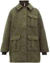 Ganni - High-neck Bouclé Wool-blend Coat - Lyst