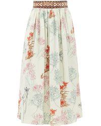 Le Sirenuse New Jane Spring Flowers-print Cotton Midi Skirt - Green